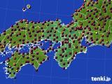 近畿地方のアメダス実況(日照時間)(2020年02月21日)