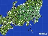 関東・甲信地方のアメダス実況(気温)(2020年02月21日)