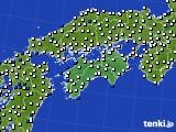四国地方のアメダス実況(風向・風速)(2020年02月25日)