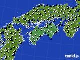 四国地方のアメダス実況(風向・風速)(2020年02月27日)