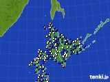 北海道地方のアメダス実況(風向・風速)(2020年03月13日)