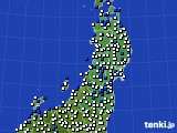 2020年03月13日の東北地方のアメダス(風向・風速)