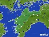 愛媛県のアメダス実況(風向・風速)(2020年03月16日)