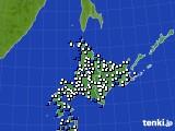 北海道地方のアメダス実況(風向・風速)(2020年03月18日)