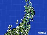 2020年03月23日の東北地方のアメダス(風向・風速)