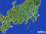 関東・甲信地方のアメダス実況(風向・風速)(2020年04月18日)
