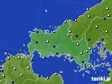 山口県のアメダス実況(風向・風速)(2020年04月18日)
