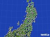 2020年05月03日の東北地方のアメダス(風向・風速)