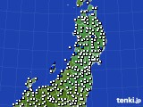 2020年05月06日の東北地方のアメダス(風向・風速)