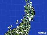 2020年05月12日の東北地方のアメダス(風向・風速)