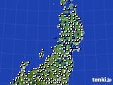 2020年05月28日の東北地方のアメダス(風向・風速)