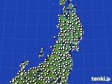 2020年05月30日の東北地方のアメダス(風向・風速)
