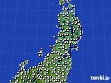 2020年06月01日の東北地方のアメダス(風向・風速)