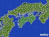 2020年06月04日の四国地方のアメダス(風向・風速)