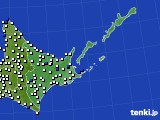 2020年06月08日の道東のアメダス(風向・風速)