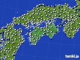 2020年06月10日の四国地方のアメダス(風向・風速)