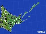 2020年06月10日の道東のアメダス(風向・風速)