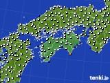 2020年06月11日の四国地方のアメダス(風向・風速)