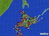 北海道地方のアメダス実況(日照時間)(2020年06月12日)