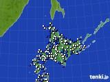 2020年06月12日の北海道地方のアメダス(風向・風速)