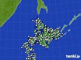 2020年06月13日の北海道地方のアメダス(風向・風速)
