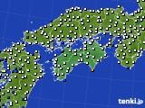 2020年06月13日の四国地方のアメダス(風向・風速)