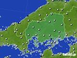 広島県のアメダス実況(風向・風速)(2020年06月13日)