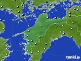 愛媛県のアメダス実況(風向・風速)(2020年06月13日)