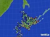北海道地方のアメダス実況(日照時間)(2020年06月14日)