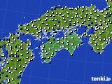 2020年06月14日の四国地方のアメダス(風向・風速)