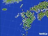 九州地方のアメダス実況(風向・風速)(2020年06月14日)