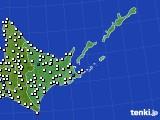 2020年06月14日の道東のアメダス(風向・風速)