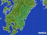 宮崎県のアメダス実況(風向・風速)(2020年06月14日)