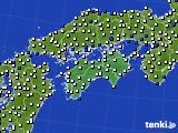 2020年06月15日の四国地方のアメダス(風向・風速)