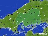 2020年06月15日の広島県のアメダス(風向・風速)