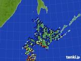 北海道地方のアメダス実況(日照時間)(2020年06月16日)