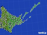 2020年06月16日の道東のアメダス(風向・風速)