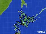 北海道地方のアメダス実況(日照時間)(2020年06月18日)