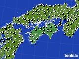 四国地方のアメダス実況(風向・風速)(2020年06月18日)