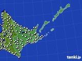 2020年06月18日の道東のアメダス(風向・風速)