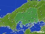 広島県のアメダス実況(風向・風速)(2020年06月18日)