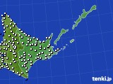 道東のアメダス実況(風向・風速)(2020年06月19日)