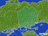 岡山県のアメダス実況(風向・風速)(2020年06月19日)