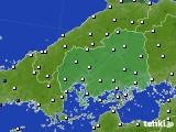 広島県のアメダス実況(風向・風速)(2020年06月19日)
