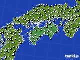 2020年06月20日の四国地方のアメダス(風向・風速)