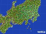 関東・甲信地方のアメダス実況(気温)(2020年06月21日)