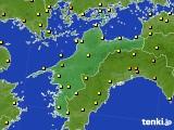 愛媛県のアメダス実況(気温)(2020年06月21日)