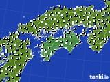 2020年06月21日の四国地方のアメダス(風向・風速)