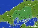 広島県のアメダス実況(風向・風速)(2020年06月21日)