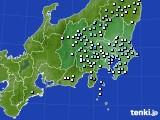 関東・甲信地方のアメダス実況(降水量)(2020年06月22日)